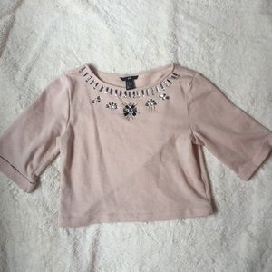 Cropped Sweater with Jewelled Neckline